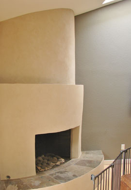 American Clay Enjarre fireplace surround