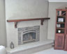 Lomalina Plaster over brick fireplace